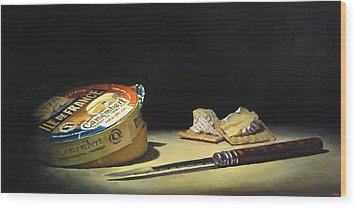 Camembert Knife And Crackers Wood Print by Jeffrey Hayes