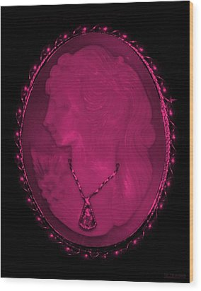 Cameo In Hot Pink Wood Print by Rob Hans