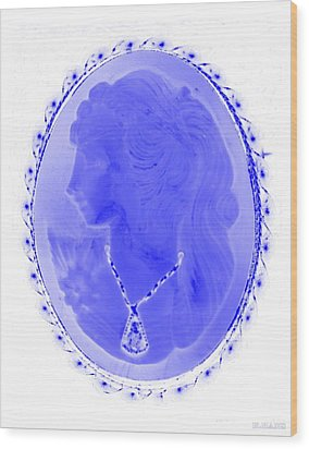 Cameo In Negative Blue Wood Print by Rob Hans