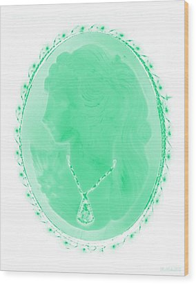 Cameo In Negative Green Wood Print by Rob Hans