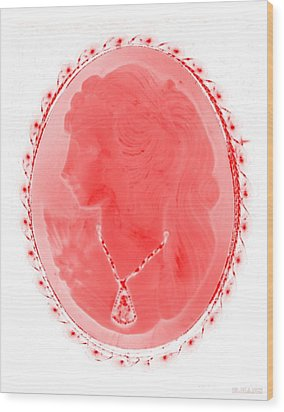 Cameo In Negative Red Wood Print by Rob Hans