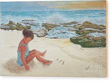 Camila And The Carribean Sea Wood Print by Jim Barber Hove