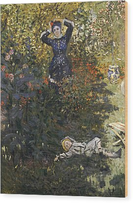 Camille And Jean In The Garden At Argenteuil  Wood Print by Claude Monet