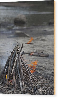 Wood Print featuring the photograph Camp Fire by Carole Hinding