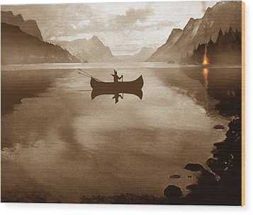 Camp Waters Wood Print by Robert Foster