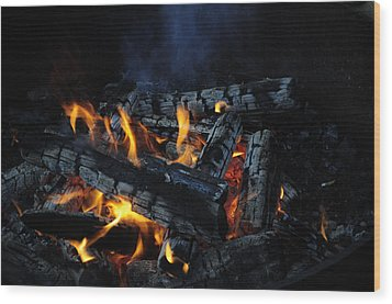 Wood Print featuring the photograph Campfire by Fran Riley