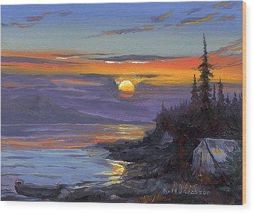 Campsite Sunset Wood Print