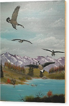 Wood Print featuring the painting Canada Air Show by Al  Johannessen
