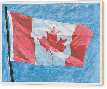 Wood Print featuring the painting Canada Day by Ana Tirolese