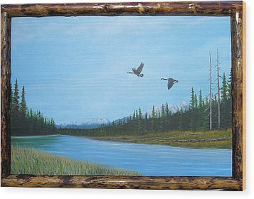 Canadian Geese On The Kootenay Wood Print by William Flexhaugh