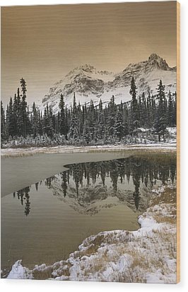Canadian Rocky Mountains Dusted In Snow Wood Print by Tim Fitzharris