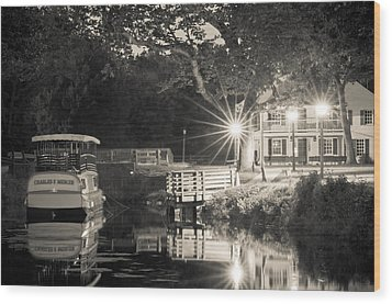 Canal Boat Wood Print by Scott Faunce