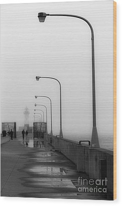 Canal Park Lighthouse In Fog Wood Print by Mark David Zahn