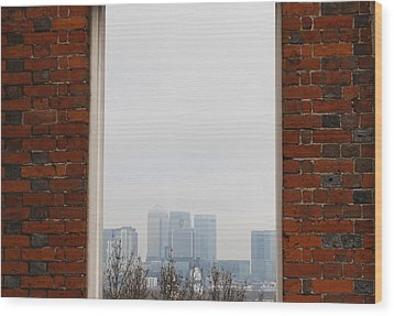 Wood Print featuring the photograph Canary Wharf View by Maj Seda