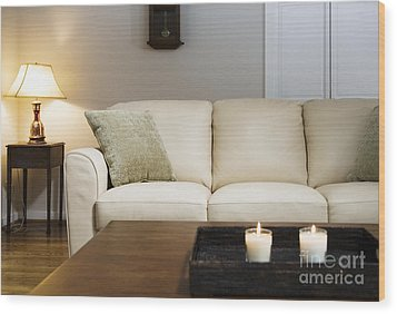 Candlelit Living Room Wood Print by Andersen Ross