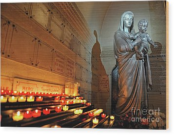 Candles And Virgin Mary With Infant Wood Print by Sami Sarkis