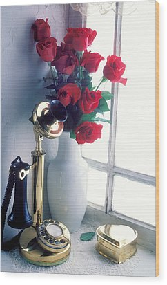 Candlestick Phone In Window Wood Print by Garry Gay