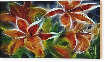 Candy Lily Fractal  Wood Print by Peter Piatt