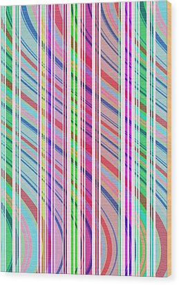 Candy Stripe Wood Print by Louisa Knight