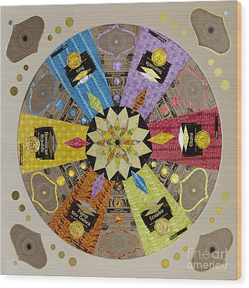 Candy Wrapper Mandala Wood Print by Fourth and Fith Grades