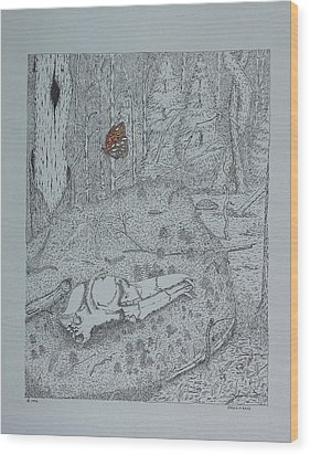 Wood Print featuring the drawing Canine Skull And Butterfly by Daniel Reed