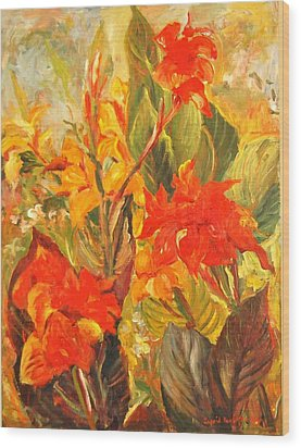 Canna Lilies Wood Print by Alexandra Maria Ethlyn Cheshire