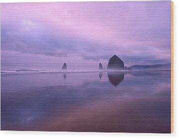 Cannon Beach Reflections Wood Print by Dan Mihai