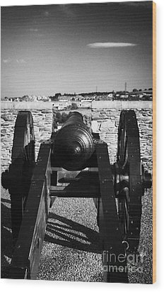 Cannon On Church Bastion Facing Out On The 17th Century Walls Of Derry City Wood Print by Joe Fox