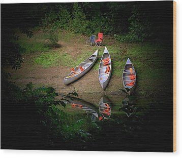 Canoe Bank Wood Print by Michael L Kimble