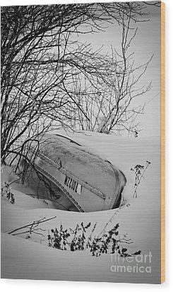 Canoe Hibernation Wood Print by Mark David Zahn Photography
