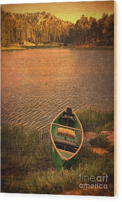 Canoe On Lake Wood Print by Jill Battaglia