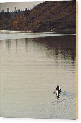 Canoe Tracks Wood Print by Andrea Arnold