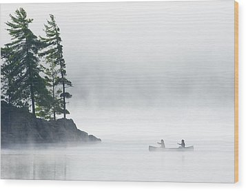Canoeing Through Fog On Lake Of Two Wood Print by Mike Grandmailson