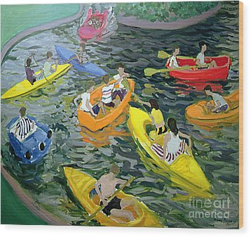 Canoes Wood Print by Andrew Macara