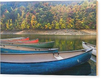 Canoes At Fontana Wood Print by Debra and Dave Vanderlaan
