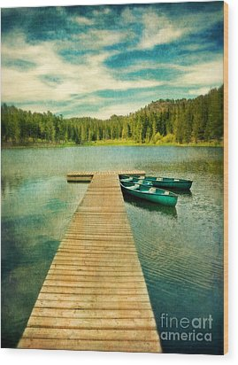 Canoes At The End Of The Dock Wood Print by Jill Battaglia