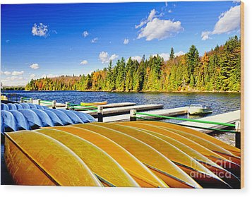 Canoes On Autumn Lake Wood Print by Elena Elisseeva