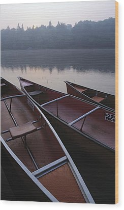 Canoes On Still Water Wood Print by Natural Selection John Reddy
