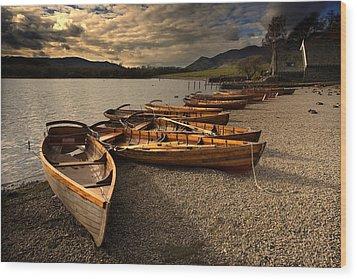Canoes On The Shore, Keswick, Cumbria Wood Print by John Short