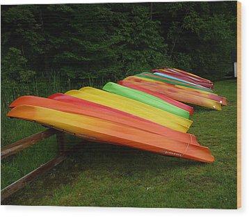 Canoes  Wood Print by Pamela Turner