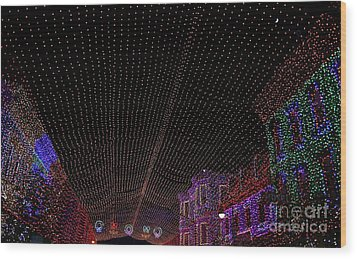 Canopy Of Lights Wood Print by Ronnie Glover