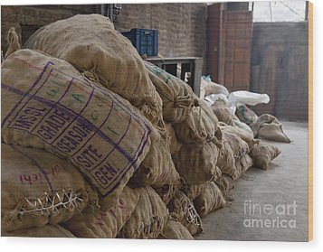 Canvas Bags Holding Foodstuffs Wood Print by Inti St. Clair