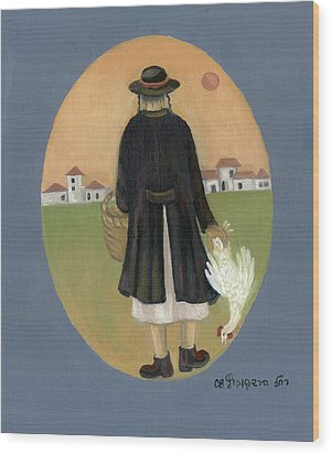Caparot Rooster Hasid Back View Jewish Religious In Blue Yellow Black Green  Wood Print by Rachel Hershkovitz
