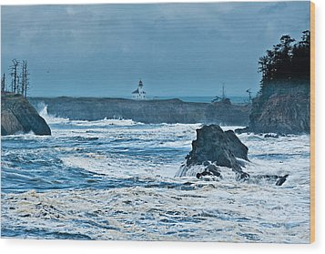 Cape Arago Light House Wood Print by Alvin Kroon