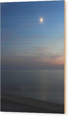 Cape Cod Bay Dusk Moon Wood Print by John Burk