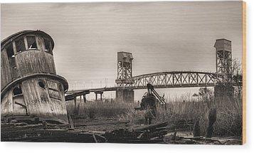 Cape Fear Memorial Bridge Wood Print by JC Findley