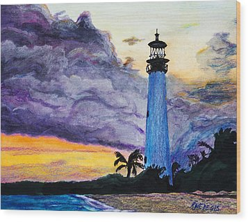 Cape Florida Lighthouse Wood Print by Roger Wedegis