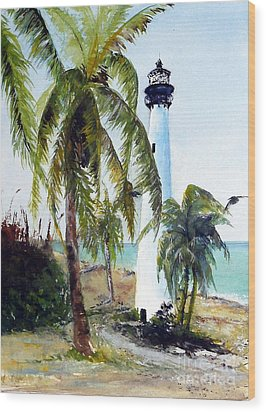 Cape Florida Lighthouse Wood Print by Sibby S