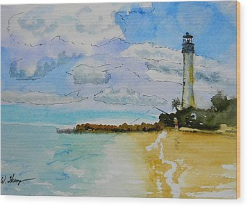 Cape Florida Lighthouse Wood Print by Warren Thompson