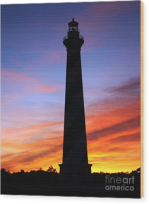 Cape Hatteras Sunset Wood Print by Tony Cooper